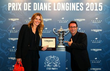 Sophie Thalmann, president of the jury of the Prix Mademoiselle Diane by Longines, and Billy, television moderator