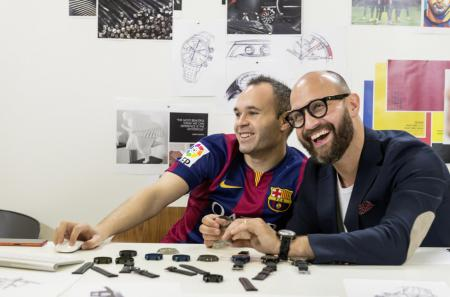 Iniesta and a designer of Maurice Lacroix