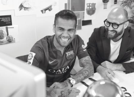 Dani Alves and a designer of Maurice Lacroix