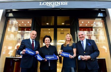 Inauguration Longines boutique - Frédéric Bondoux, Florence Ollivier, Steffi Graf, Walter von Känel