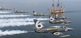 Breitling Jet Team Flies over Replica of 18th Century Ship Hermione in Chesapeake Bay
