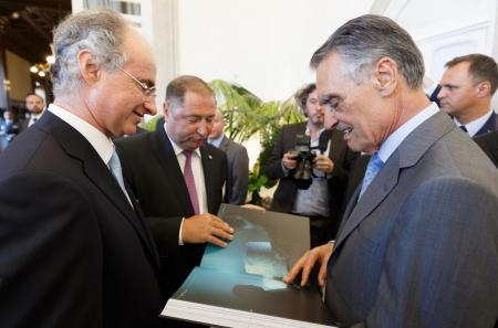 His Excellency the President of the Portuguese Republic Prof. Aníbal Cavaco Silva receiving a copy of Blancpain's collectible volume