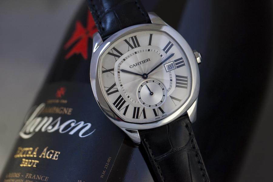 Drive de Cartier watch - Steel - Silvered dial - Selfwinding caliber Manufacture Cartier 1904-PS MC - Black alligator strap