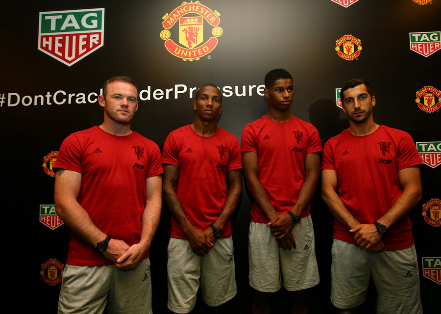 Manchester United representatives present at the event. (From left Wayne_ Rooney, Ashley Young, Marcus Rashford, Henrikh Mkhi