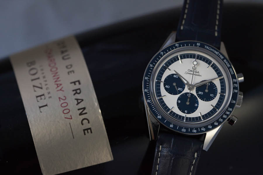 Omega Speedmaster CK2998 - Steel - Silvered and blue dial - Handwinding Omega 1861 chronograph movement - Blue leather strap