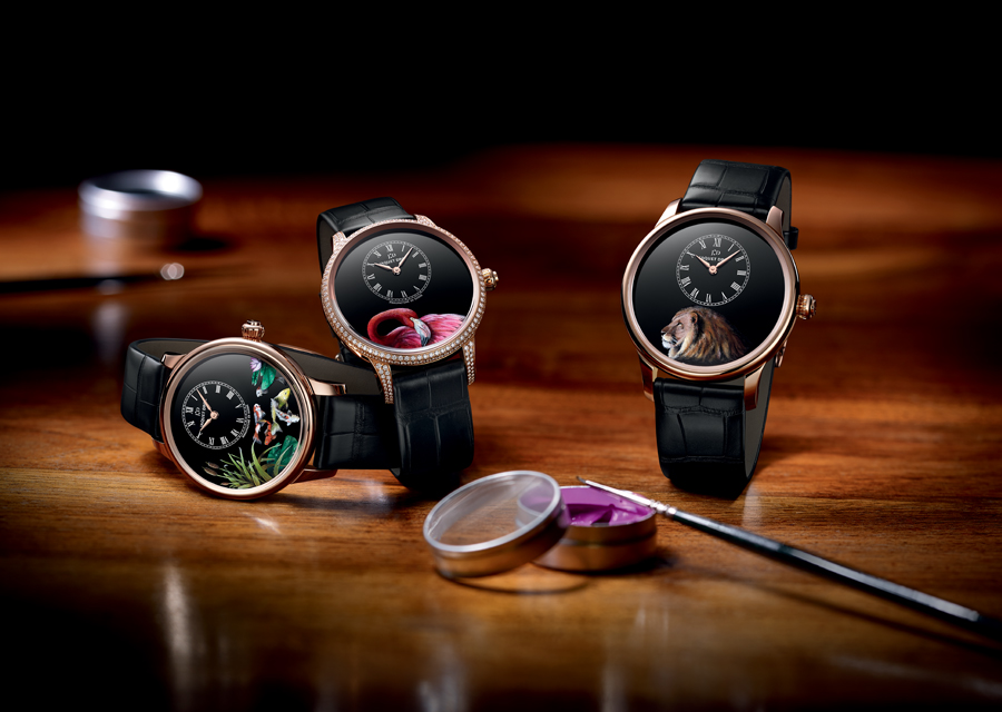 The three exclusive versions of the ''Petite Heure Minute'' conceived in the Jaquet Droz Ateliers d'Art