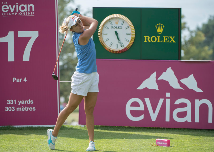 Lexi Thompson's eye on the ball, supported by Rolex