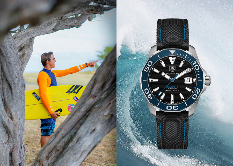 TAG Heuer ambassador, Kai Lenny will surf the biggest waves of the world with the Aquaracer 300M