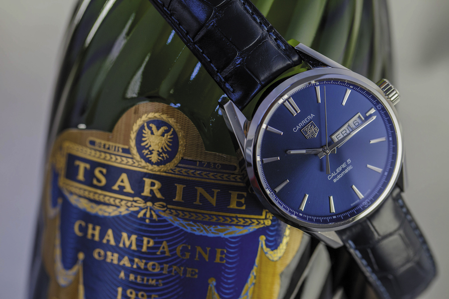 TAG Heuer Carrera Day-Date watch - Steel - Blue dial - Selfwinding Caliber 5 - Blue alligator strap