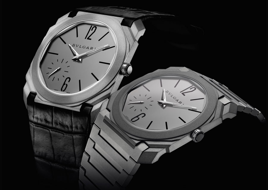 The Octo Finissimo Automatic proposed with an alligator leather strap or a titanium bracelet