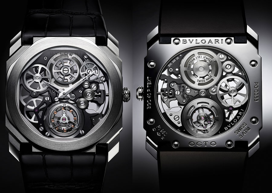 The Octo Finissimo Tourbillon Skeleton from a front and back view