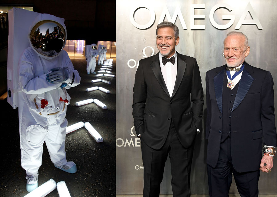 Guests like George Clooney and Buzz Aldrin were welcolmed by astronauts