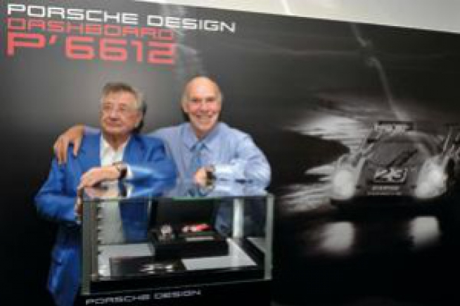 Racing drivers Hans Herrmann and Richard Attwood visit watch manufacturer