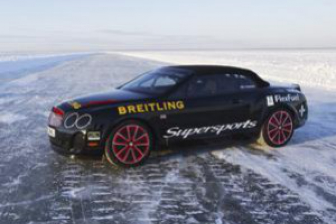A Bentley Supersports sets a new world speed record on ice