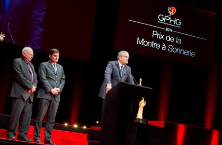 Antoine Simonin and Patrick Wehrli (jury members), Ricardo Guadalupe (CEO of Hublot, winner of the Striking Watch Prize 2014)