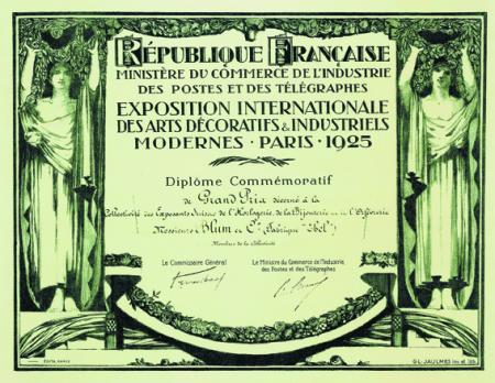 1925 - Grand Prize at the Exhibition of Decorative Arts in Paris