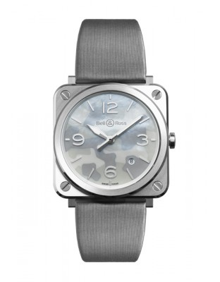 BRS Grey Camouflage - Steel - Mother-of-pearl - Satin strap
