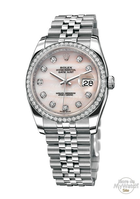 Watch rolex datejust rolesor 36 mm oyster perpetual 116244 63600 white rolesor setted bezel for Rolex date just 36
