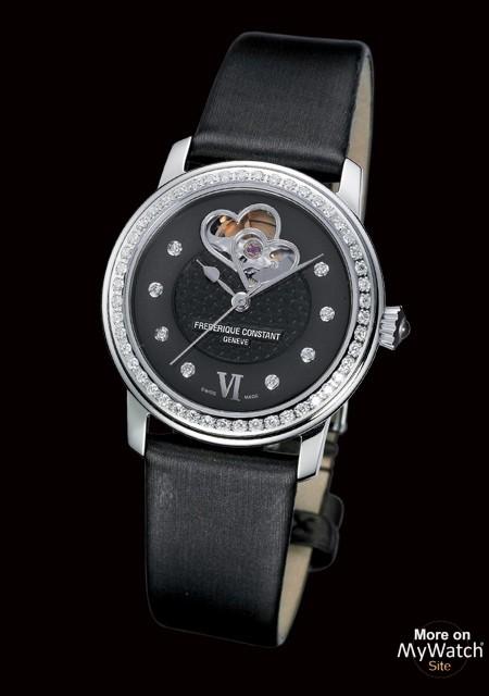 Watch Frédérique Constant Black Beauty   Ladies Automatic FC 310BDHB2PD6 Steel Diamonds Black Mother of Pearl Satin Strap