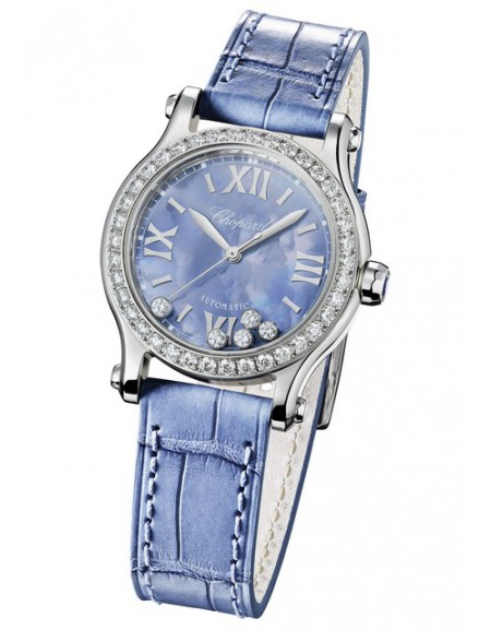Happy Sport Automatic Bleu diamants