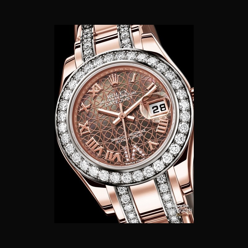 watch rolex lady datejust pearlmaster oyster perpetual 80285 everose gold diamonds black. Black Bedroom Furniture Sets. Home Design Ideas