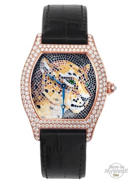 Watch Cartier Tortue Grand Modele Decor Panthere Mosaique De Pierres