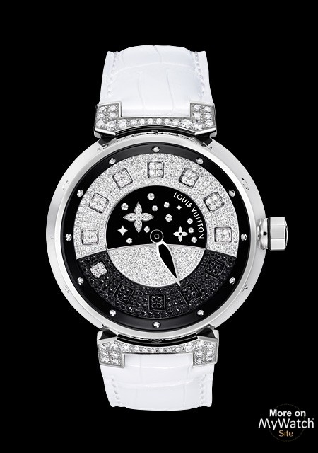 Tambour Spin Time Joaillerie - White Gold - Black and White Diamonds - Louis Vuitton