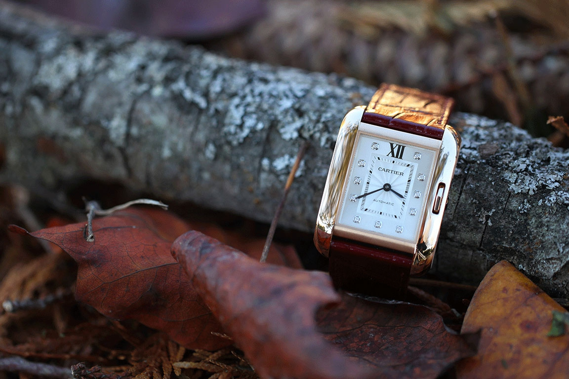 CARTIER watch-Tank Anglaise-Pink gold-Dial with diamond hour-markers - Self-winding movement-Shiny Bordeaux alligator strap