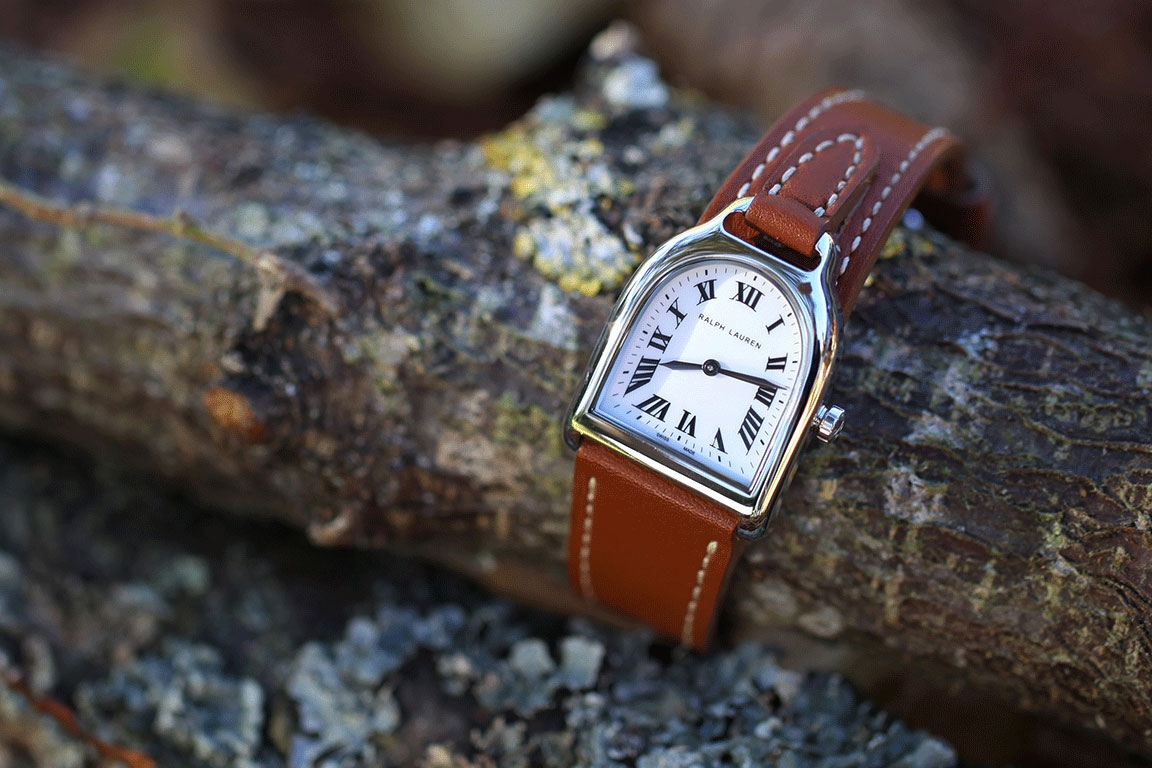 RALPH LAUREN watch - Stirrup small model - Steel - Off-white lacquered dial - Quartz movement - Brown leather strap