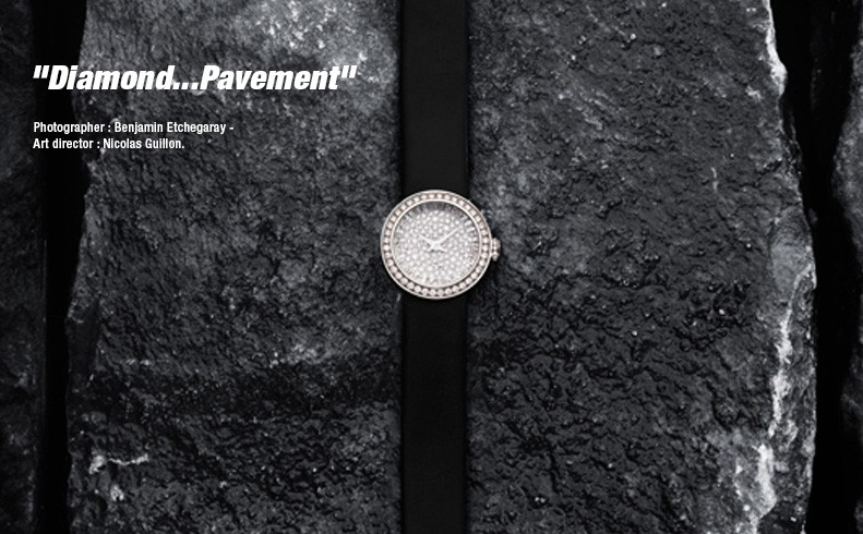 DIOR Mini D de Dior - White gold paved by diamonds - Snow setting - Quartz movement - Satin strap